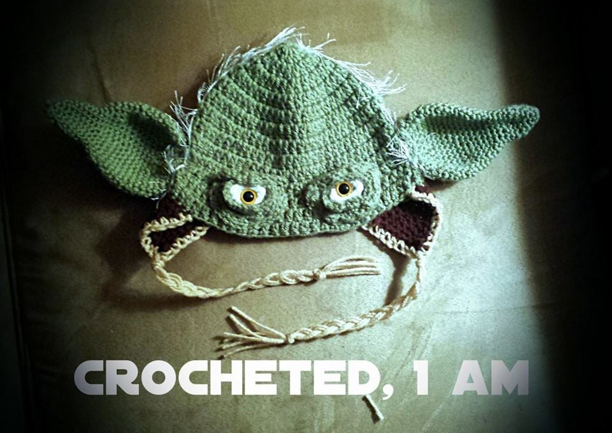 Adorable Yoda hat my friend crocheted.