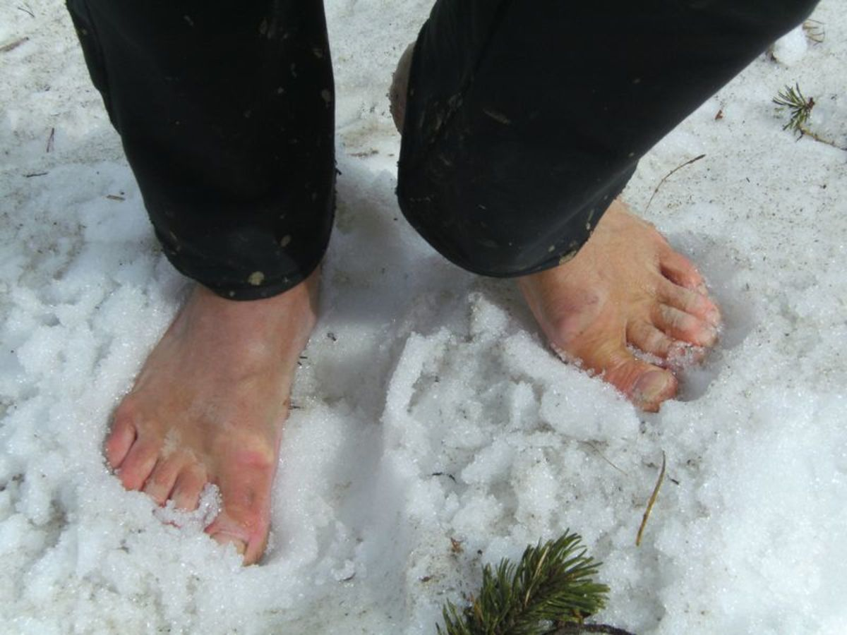 I am not nearly brave, or crazy, enough to go barefoot in the snow!--Wikimedia commons