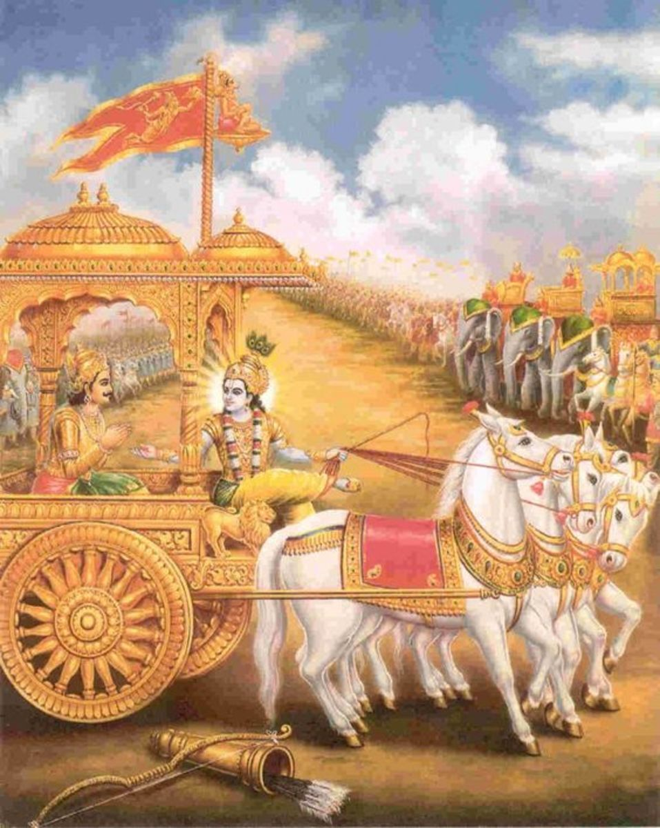 Lord Krishna giving advice to Arjuna in the battlefield about Karm of Man i.e. deeds of man.
