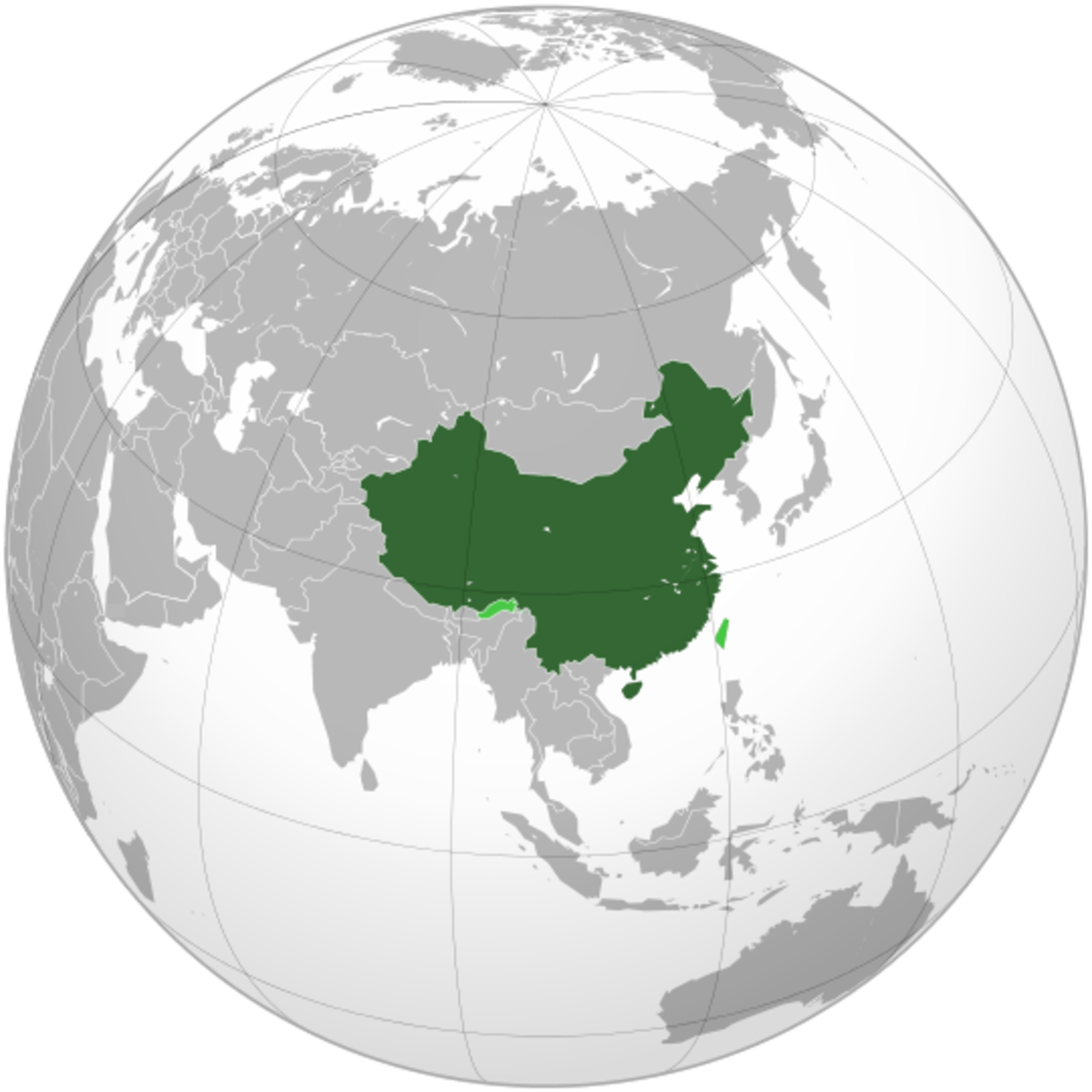 Map showing China's location