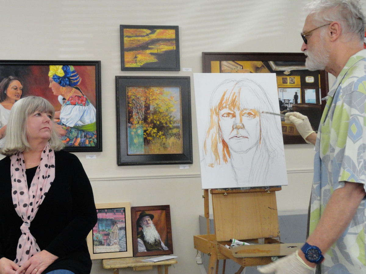 Galleries will sometimes allow artists to do demos in their space