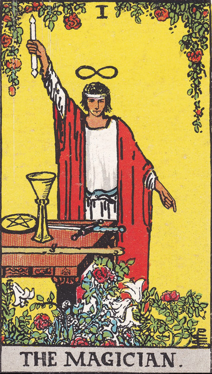 The Magician is the card of initiation. This is the person who inspires the Fool to go on a quest. The Magician is seen as a teacher, a mentor, a coach, or an ally.