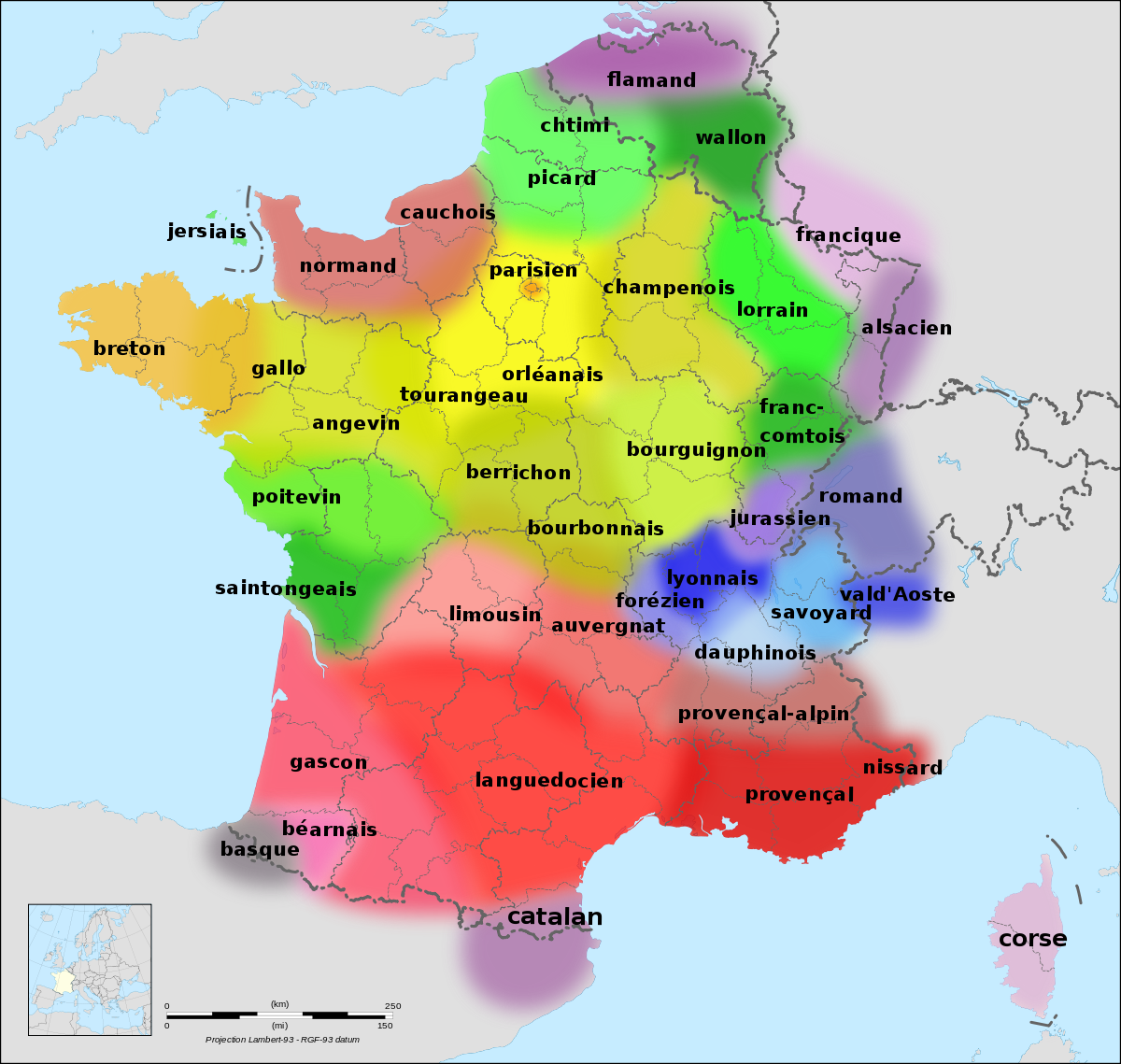 The various regional languages of France