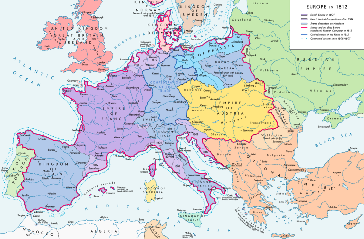 As can be seen, France had expanded quite a lot from its previous borders.