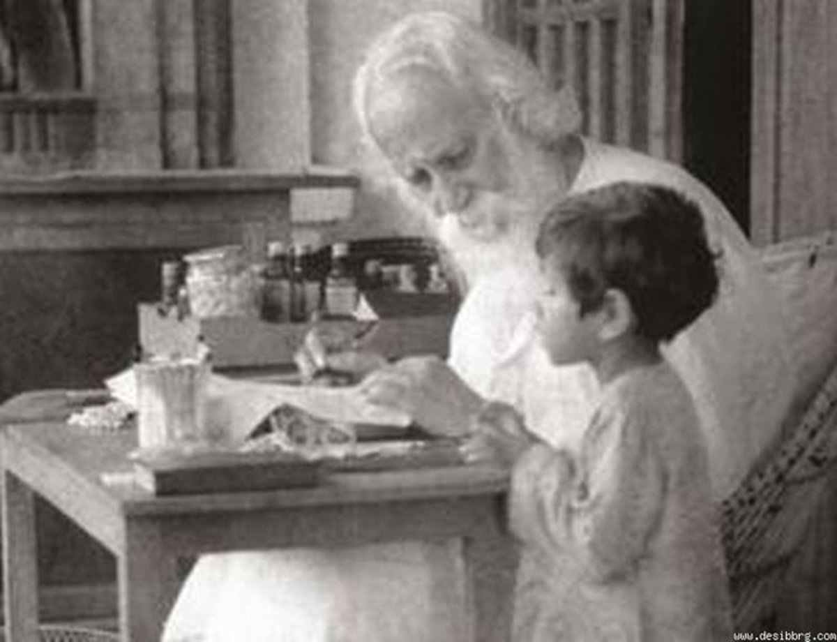 Rabindranath with a child in his office