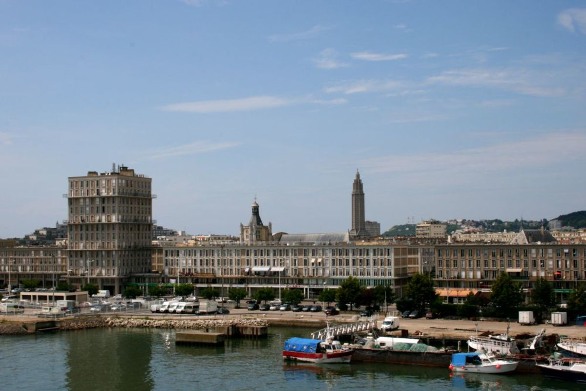 Le Havre as seen from a ferry leaving port