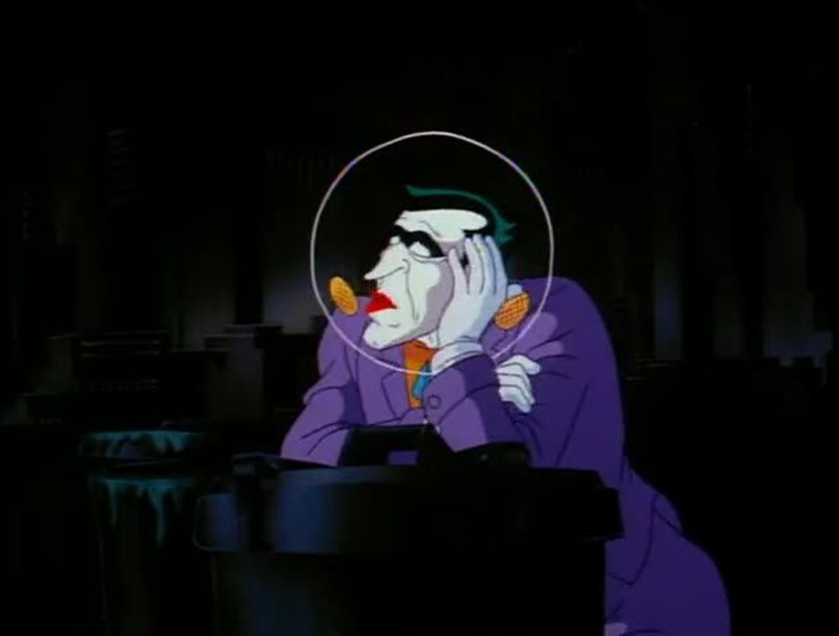 The Joker, pulling off one of his many crime sprees.