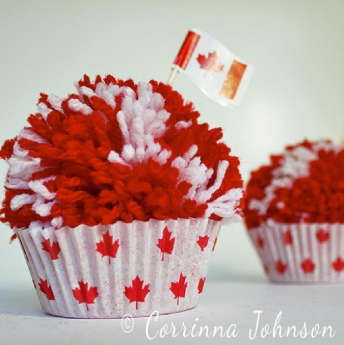 Pom Pom Cupcake Craft For Canada Day