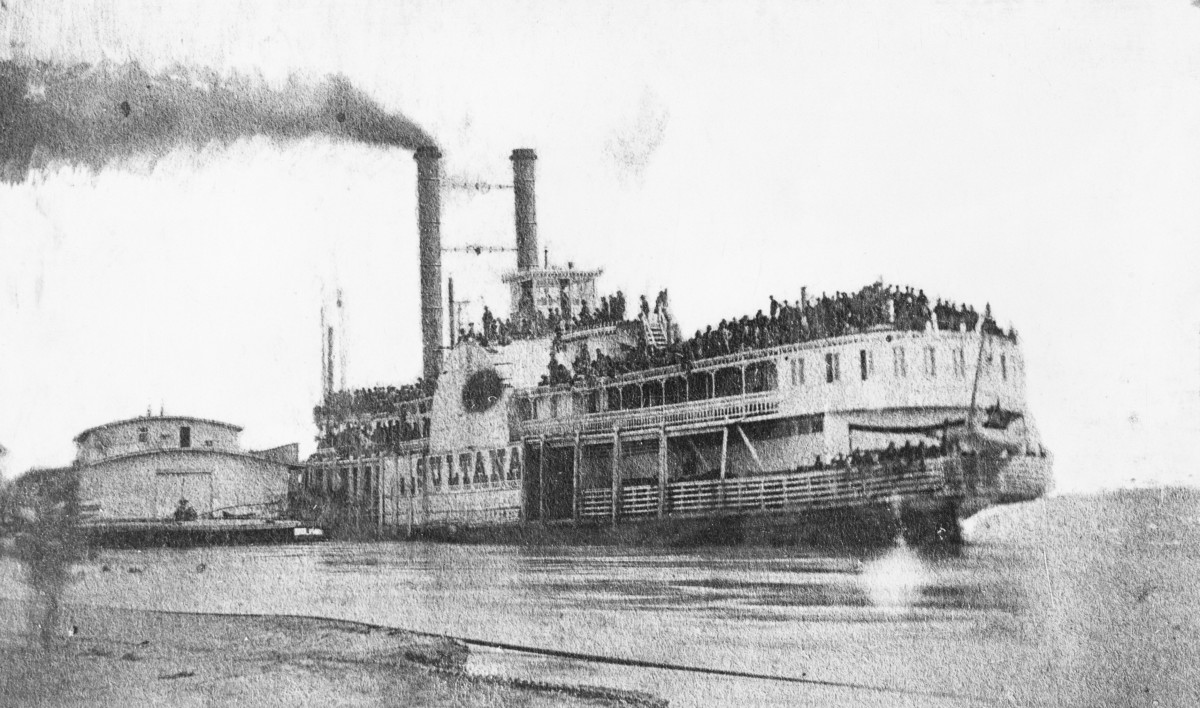 "Ill-fated ""Sultana"", Helena, Arkansas, just prior to its explosion on April 27, 1865."