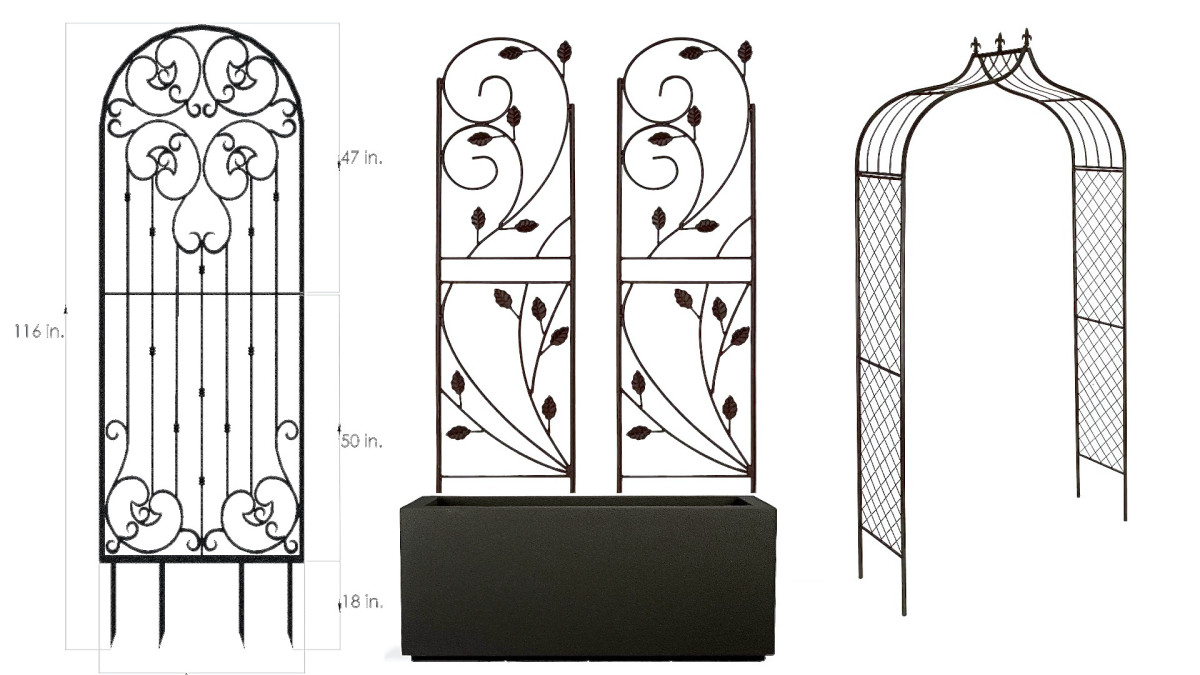It's easy to purchase your planter box and decorative trellis separately. You can purchase one wide trellis, pairs of trellises, or even a trellis arch to place on either side of the planter. The pair in the middle only costs $41.95 for both.