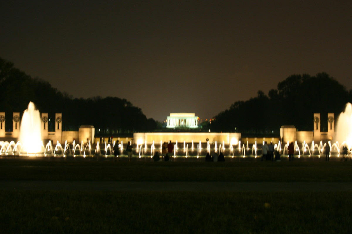 The World War II Memorial at night.
