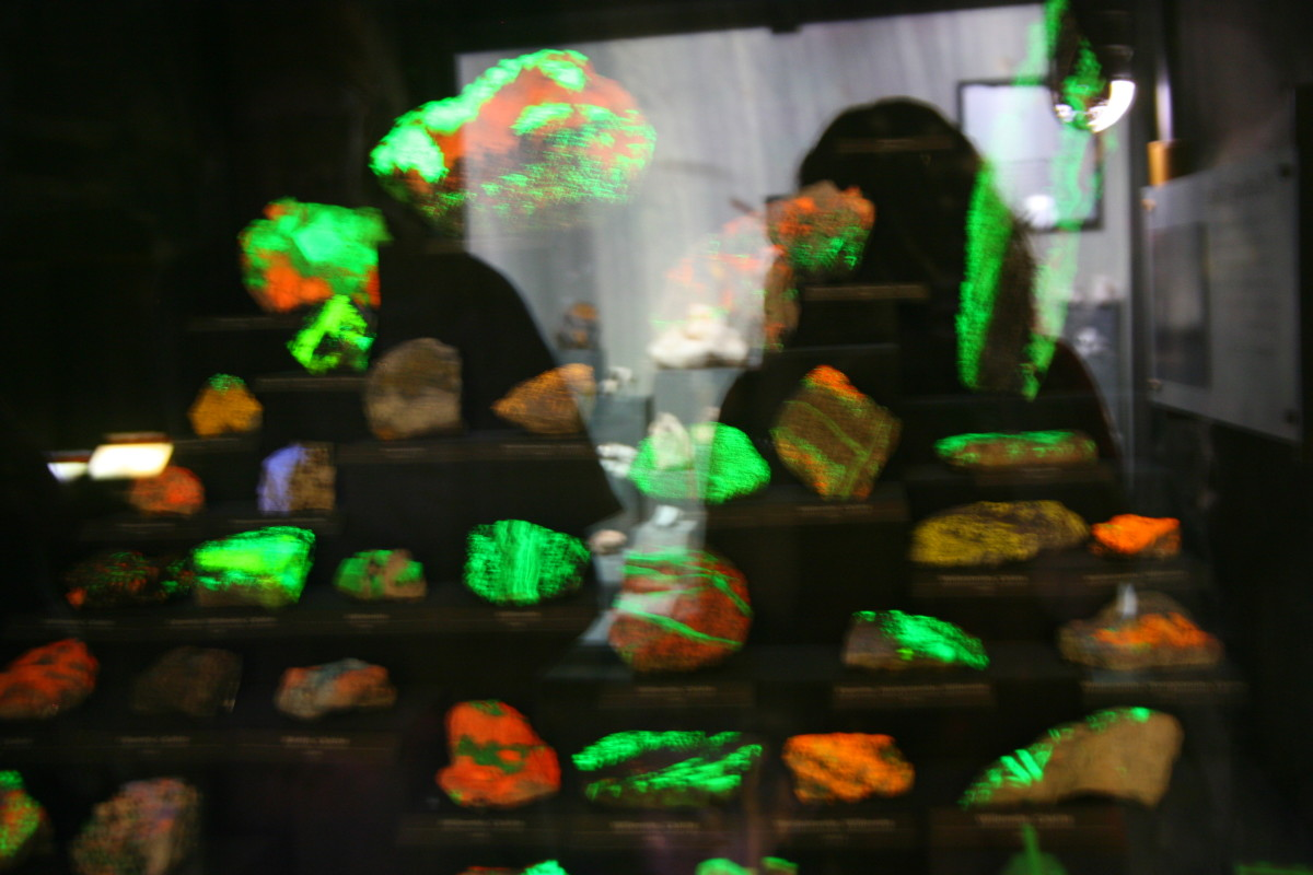 Fluorescent rocks, as viewed under black light at the Natural History Museum.
