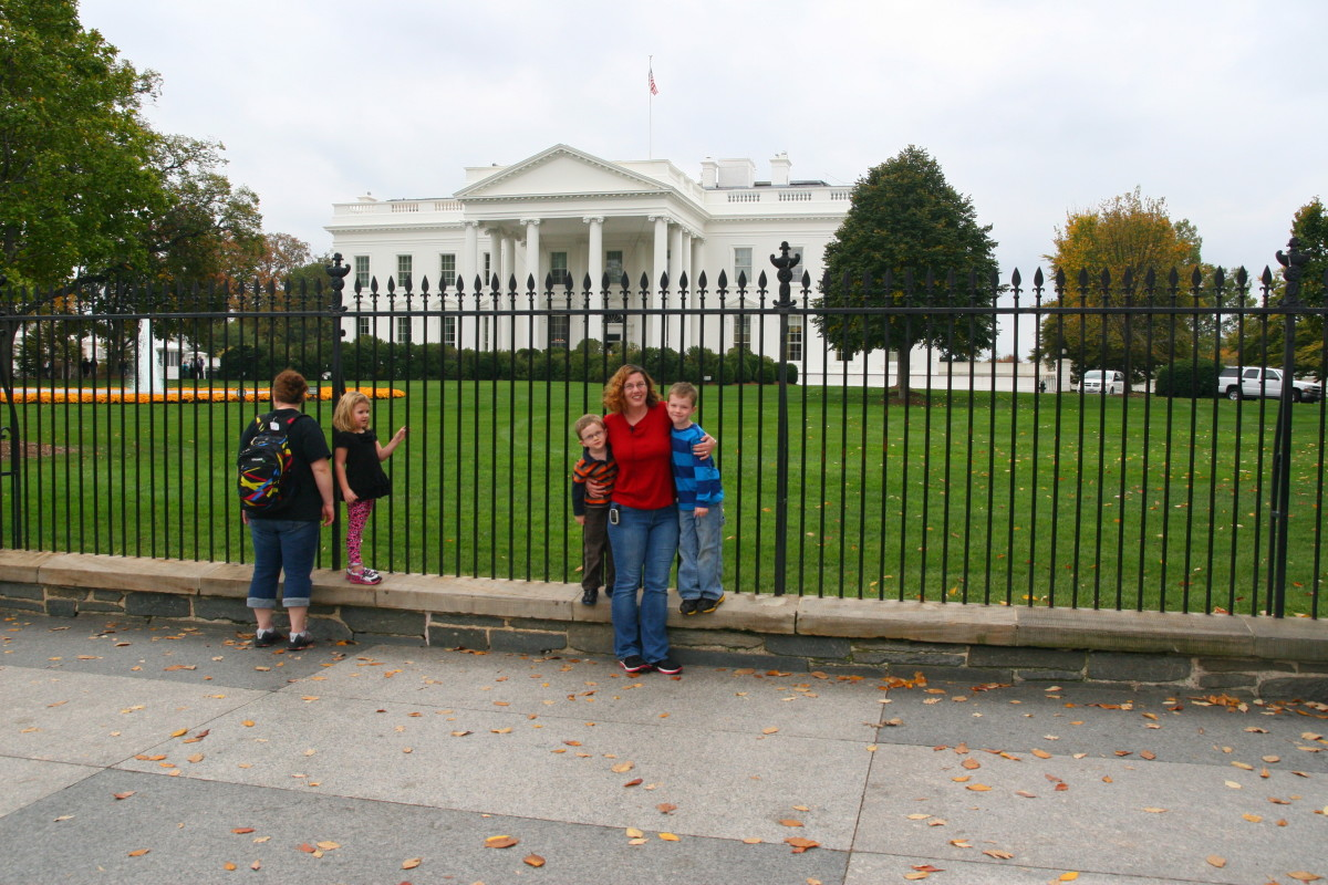 The author and her two sons in front of the White House.