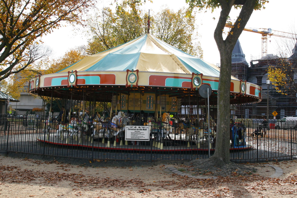 A carousel on the National Mall is a great diversion for very young children.