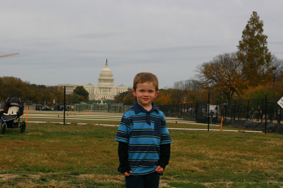 The author's five-year-old son in front of the Capitol building on the National Mall.