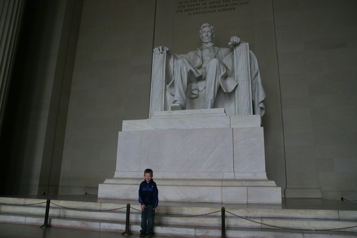 The author's six year old son in front of the Lincoln Memorial.