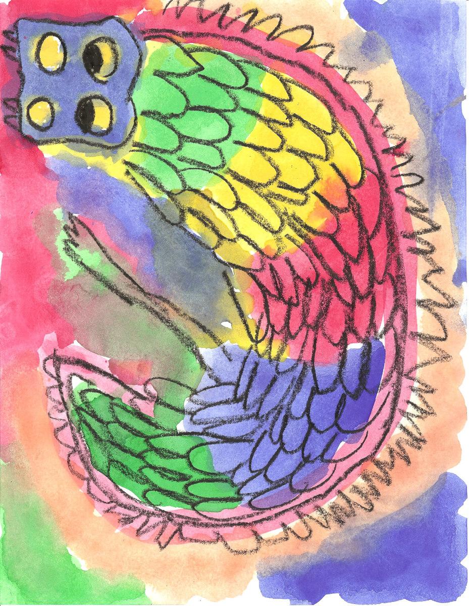 Crayon Resist Dragon