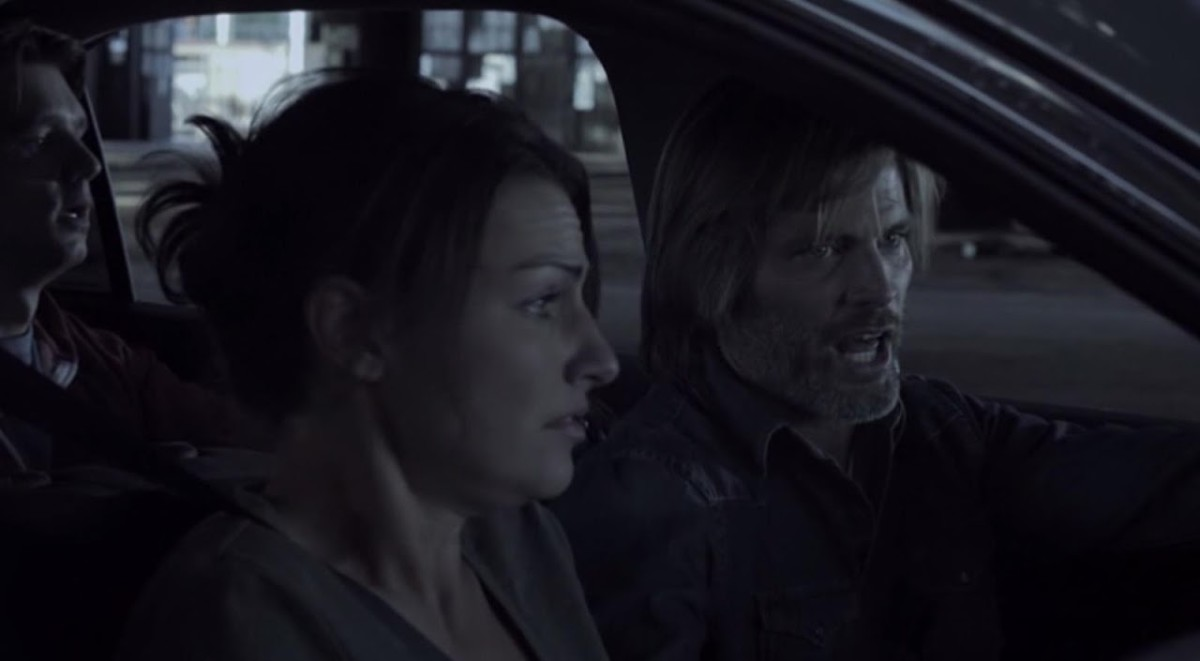 With a whole lot of dumb questions, the Sims family Johnny (Bryan Head in the backseat) Mona (Sarah Lieving) and Nathan (Casper Van Dien) are chased by a massive tornado and flood