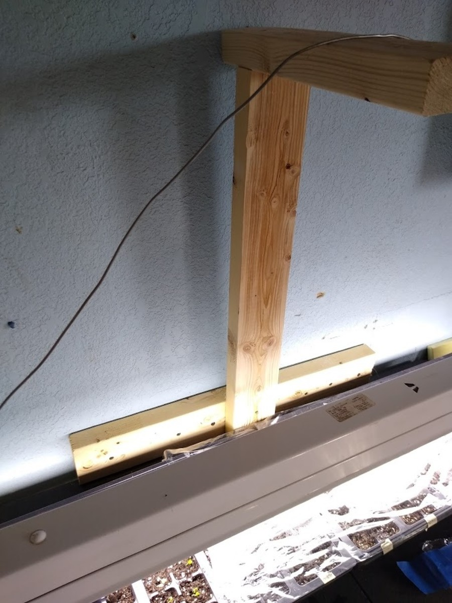 Super simple light holder I threw together with scrap lumber.