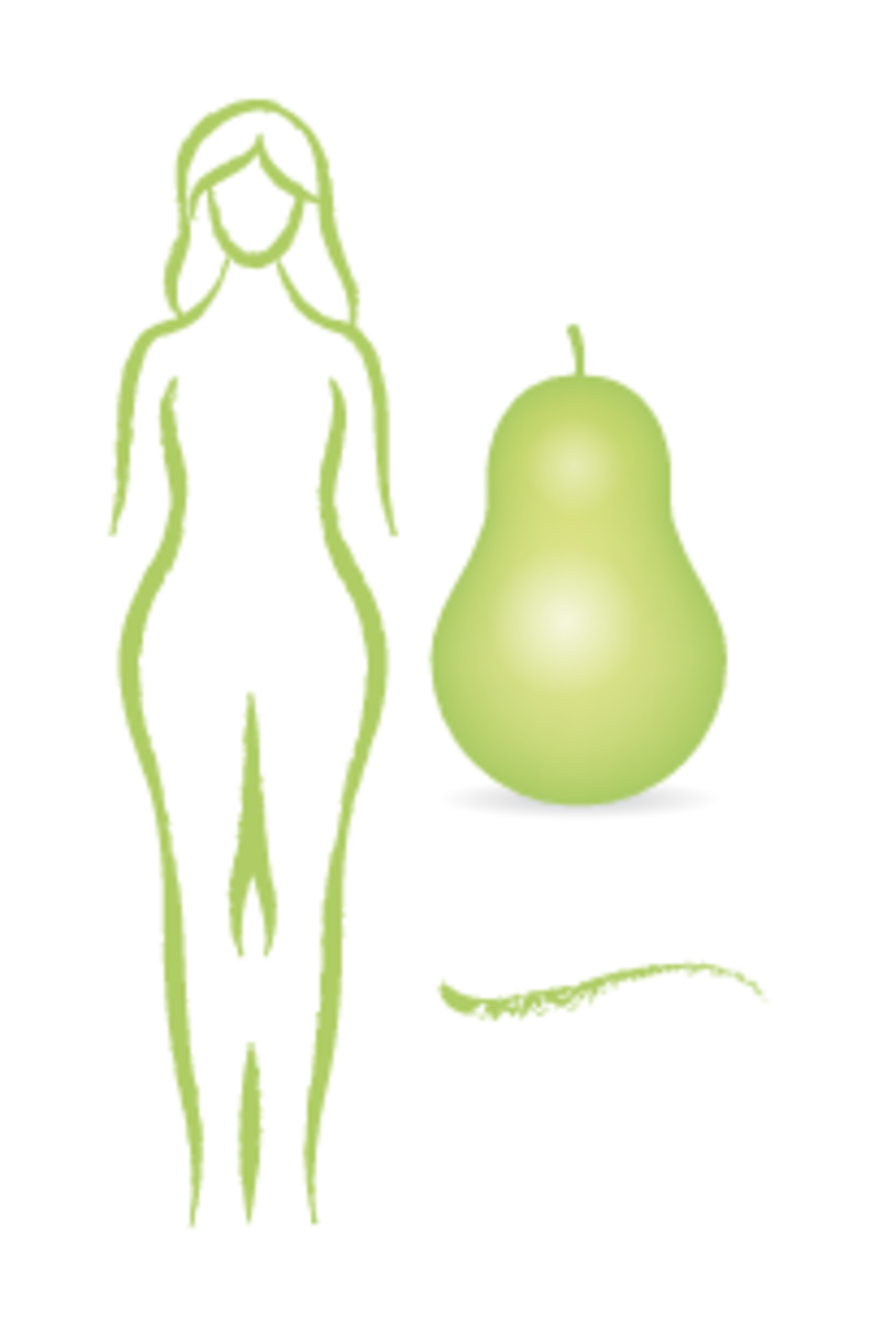 Pear shapes have hips and thighs wider than their shoulder and bustline.