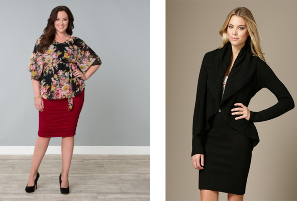 The Kimono top and ruched pencil skirt is from Kiyonna and the sweater can be found at Gilt.