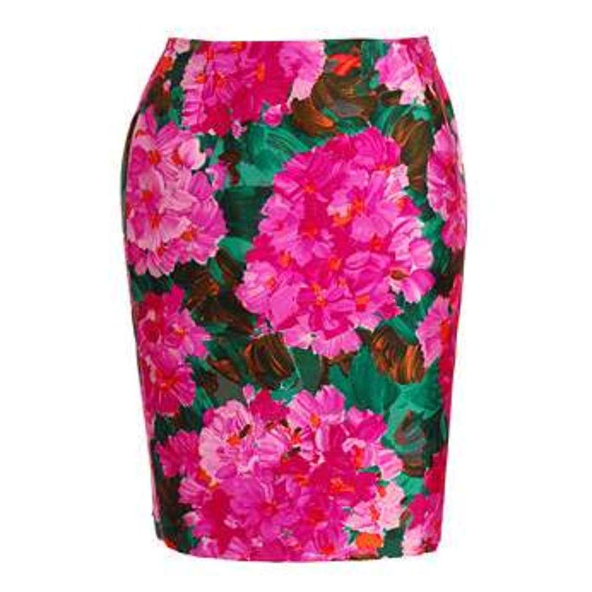 When going for prints use a large print on your lower have like this bold floral. It takes very few of thse large flowers to cover your hips.