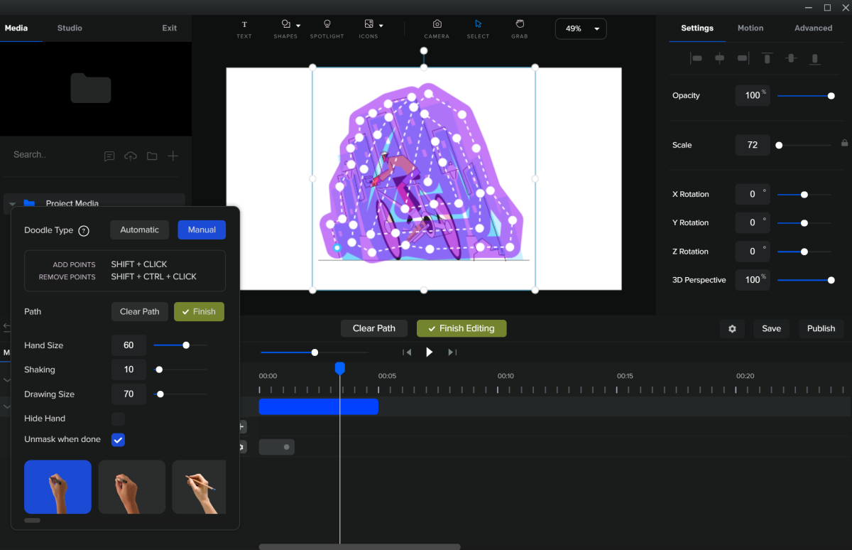 With Create Studio Doodle Effects, you can choose automatic or manual to customize how the hand moves