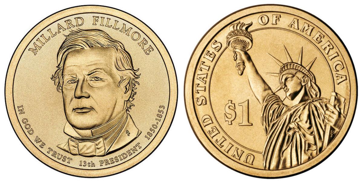 2010 Millard Fillmore dollar $1 coin.