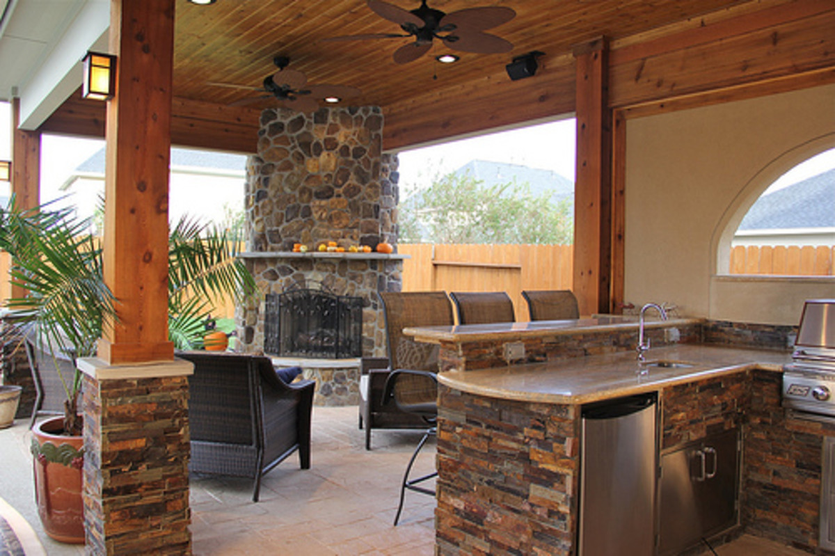 Add a kitchen or fireplace to your outdoor space.