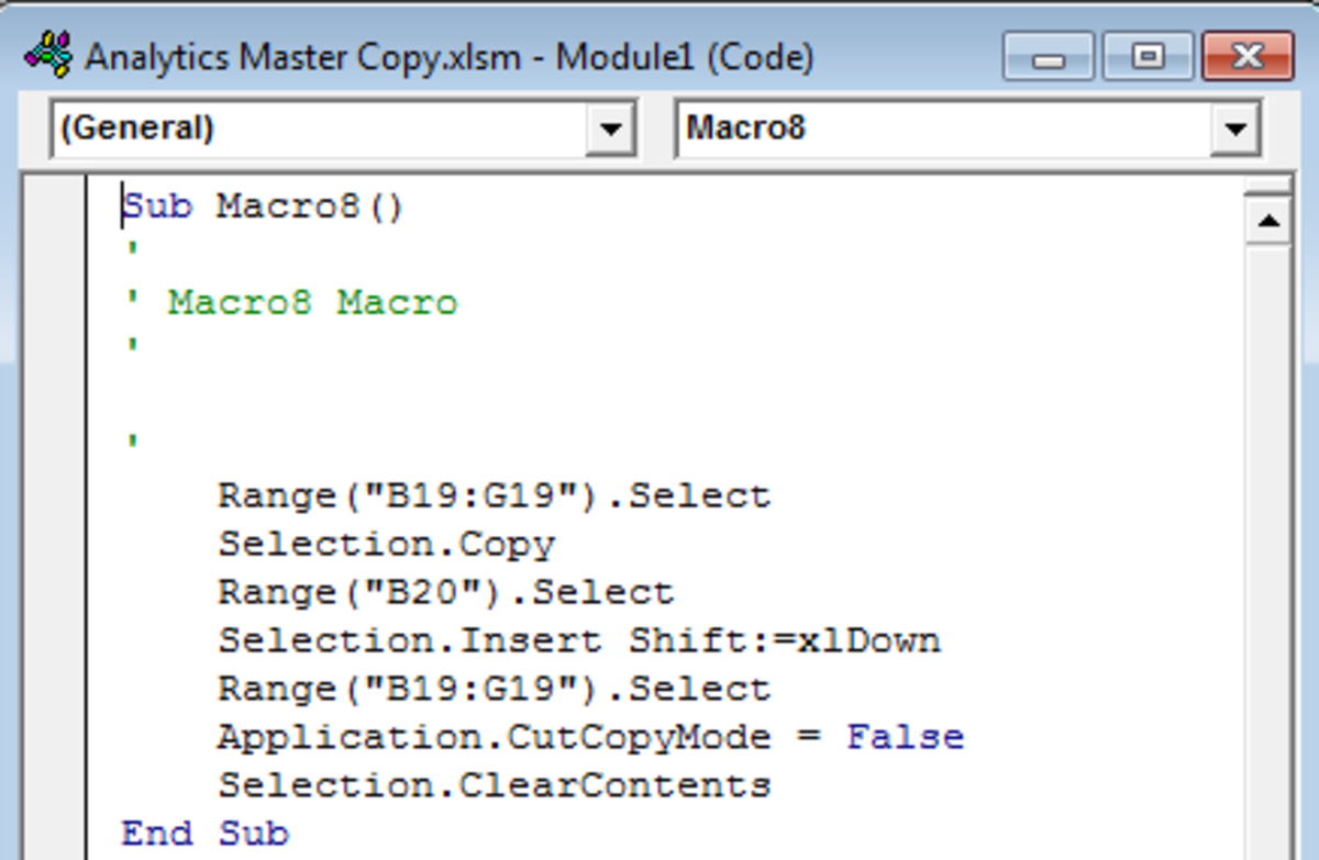 Example of Visual basic code gathered from a recorded macro to be added to a Command Button in Excel 2007 and Excel 2010.