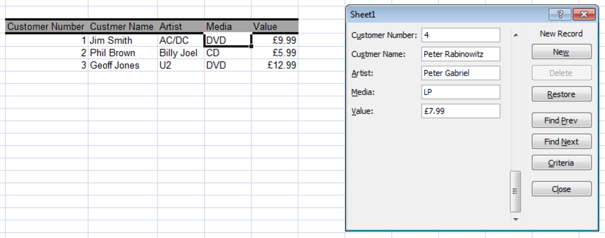 Example of a Simple Form created using Excel 2007 and Excel 2010.