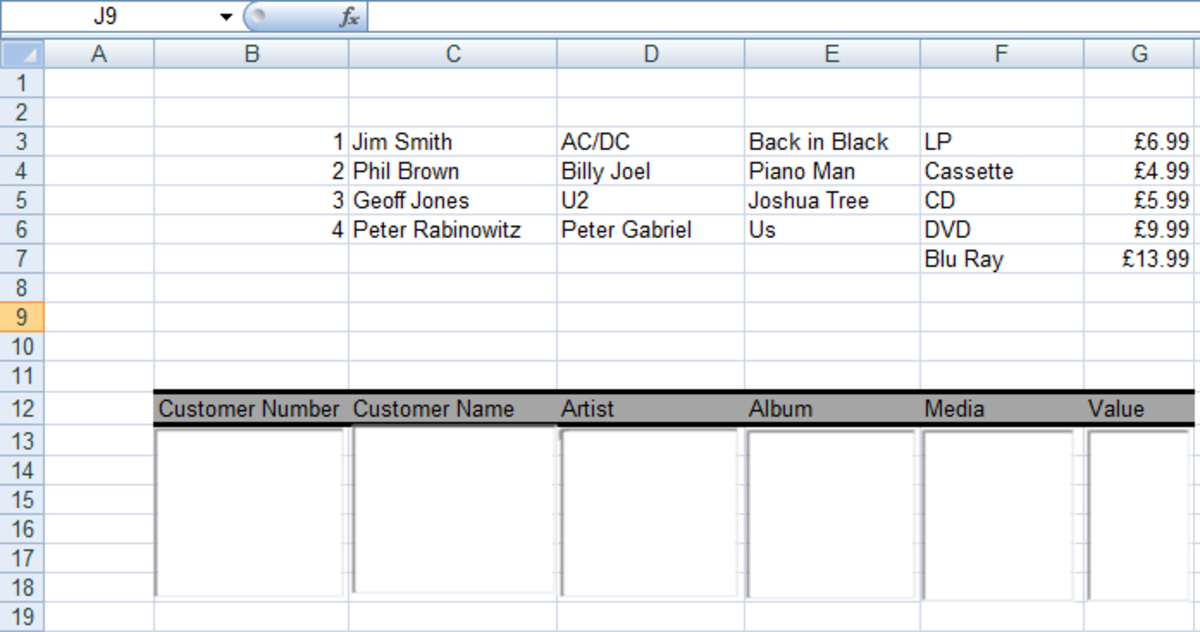 List Boxes and data columns created to use in our Form in Excel 2007 and Excel 2010.