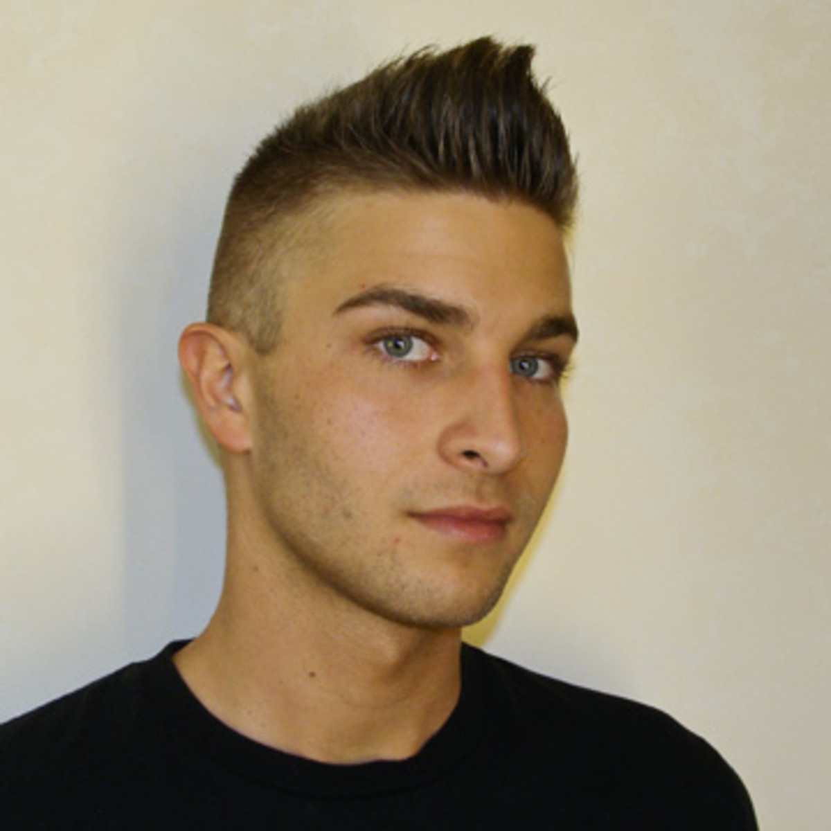 Pompadour hairstyle with shaved sides