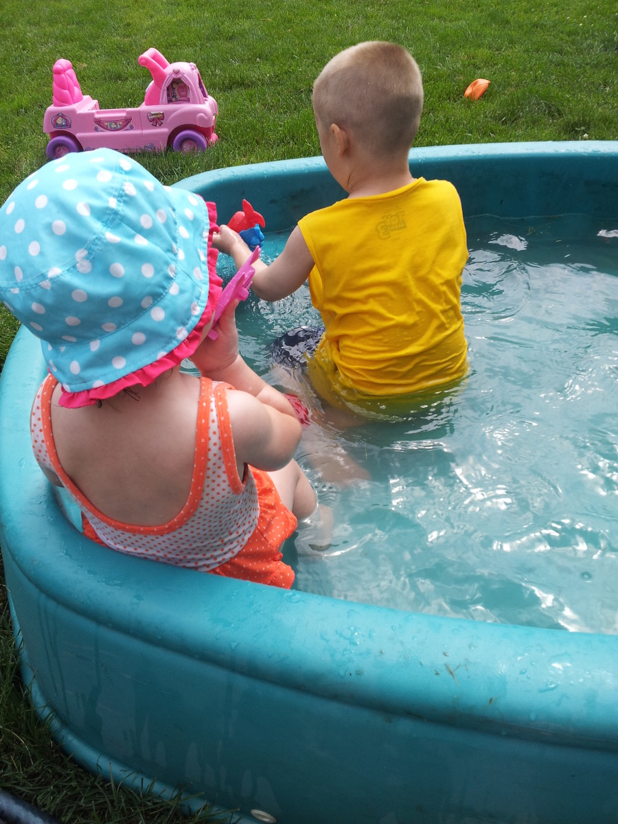 Even if you have a small pool like this in your backyard, you need to practice pool safety. Stay near your children and pay attention!