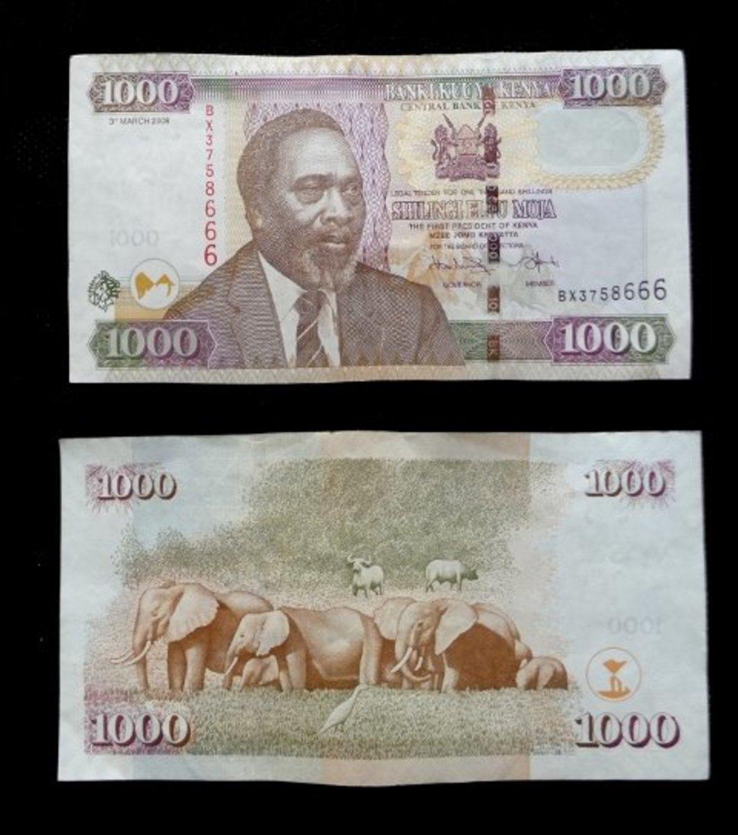 A one thousand Kenya Shillings note