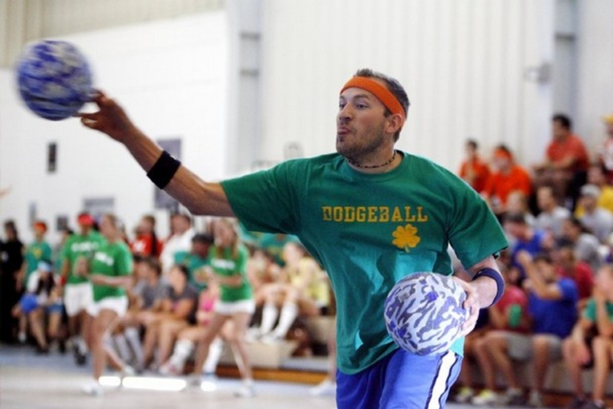Player Throwing Dodgeball During Game
