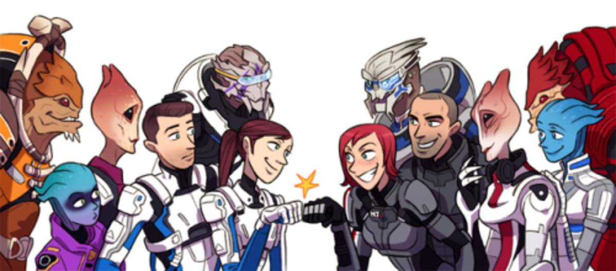 Shepard and her crew greet Ryder and her crew.