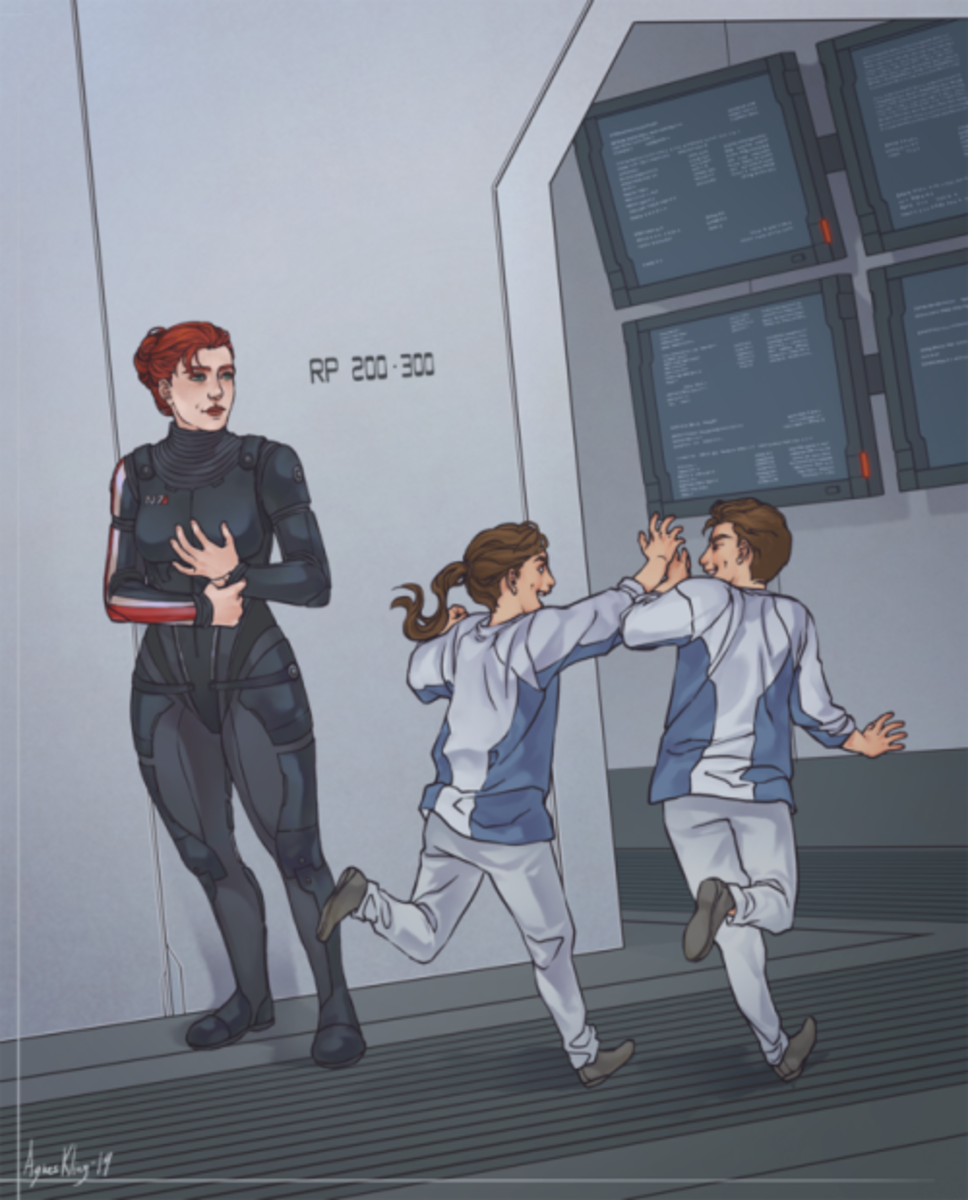 Fanart of Shepard and the Ryder twins.