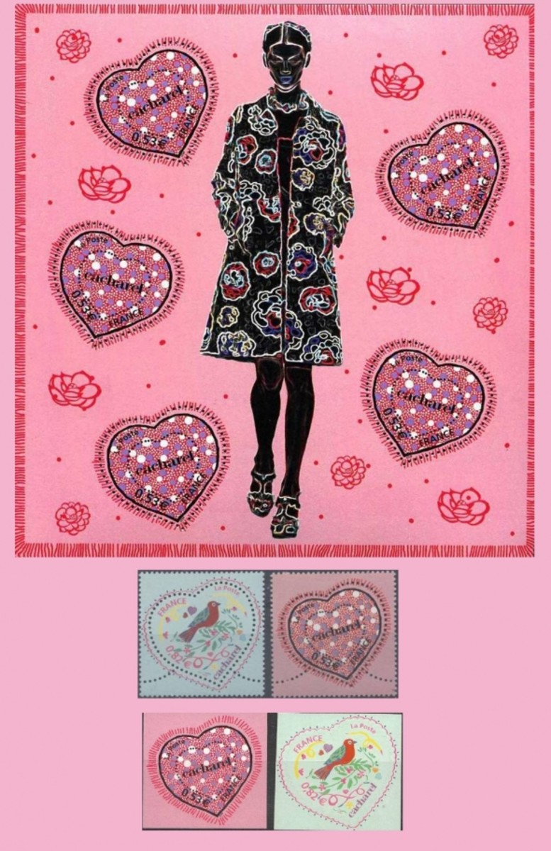 Cacharel valentine postage stamps
