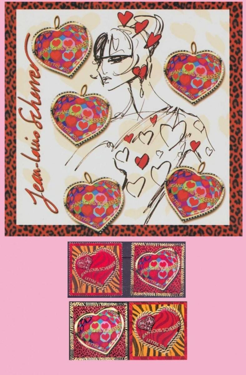 France Scherrer valentine postage stamps