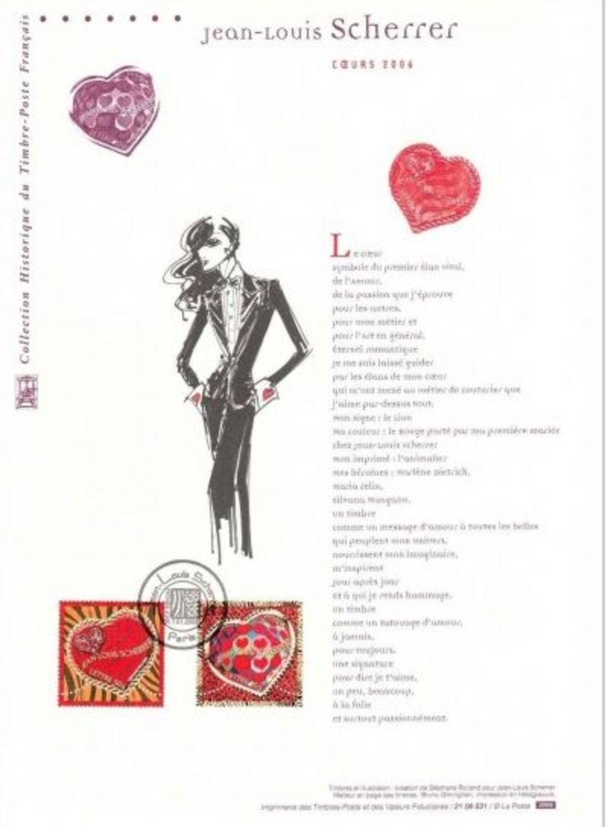 France Valentine stamps: official Jean-Louis Scherrer philatelic document