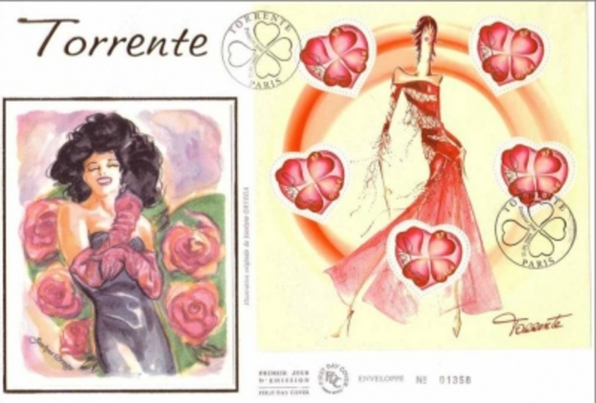 France stamps souvenir sheet First Day Cover: Valentine stamps by Torrente
