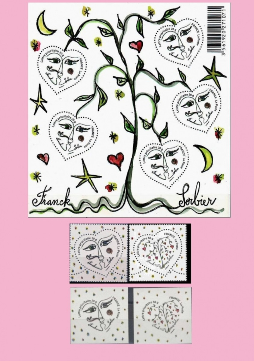 Sorbier French valentine day stamps