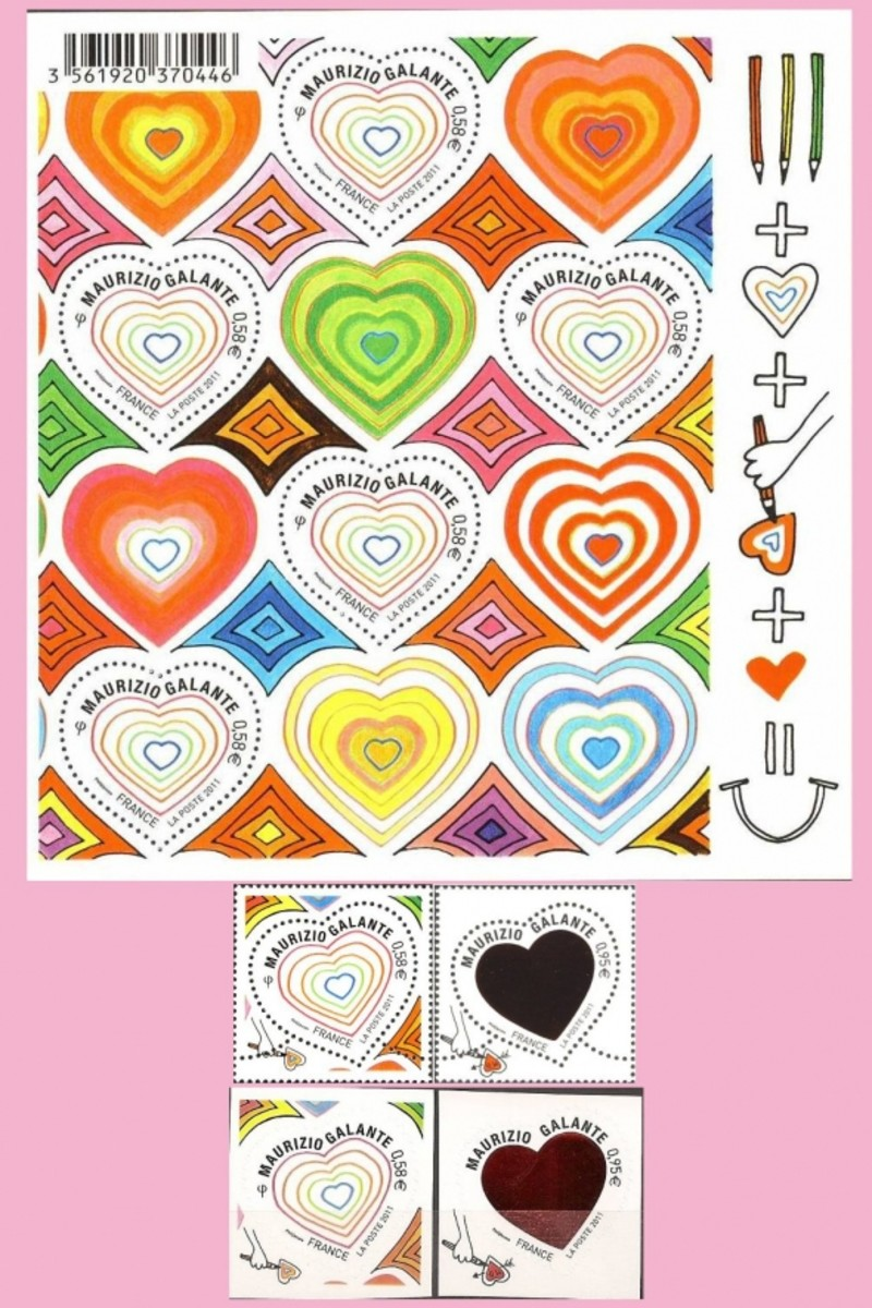 French valentine stamps 2011