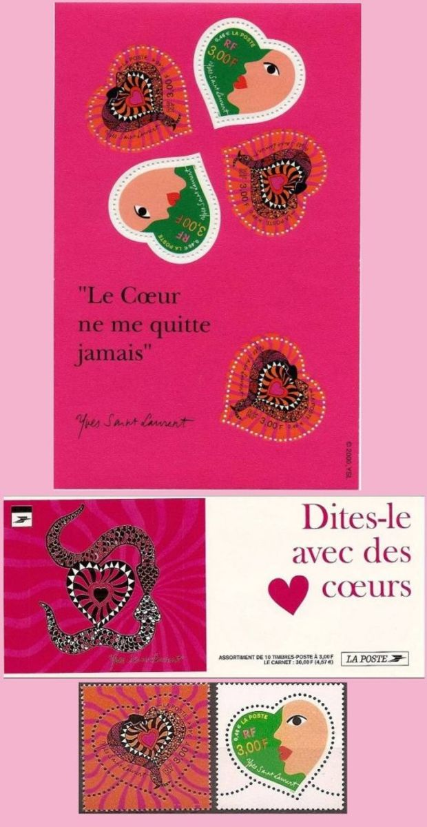 French valentine stamps Yves saint-Laurent
