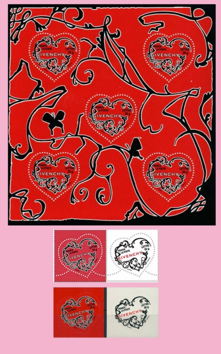 Givenchy valentine stamps