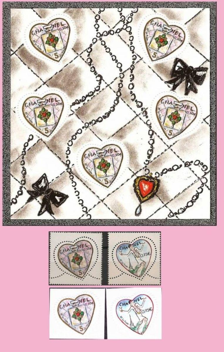 Chanel valentine postage stamps