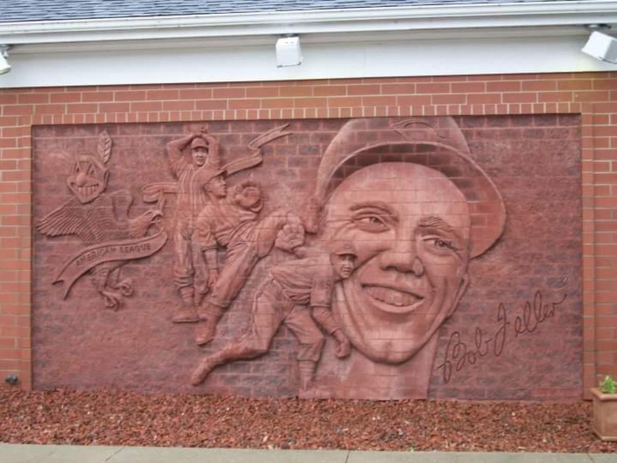 A brick mural depicts Bob Feller at the Bob Feller Museum in Van Meter, Iowa.