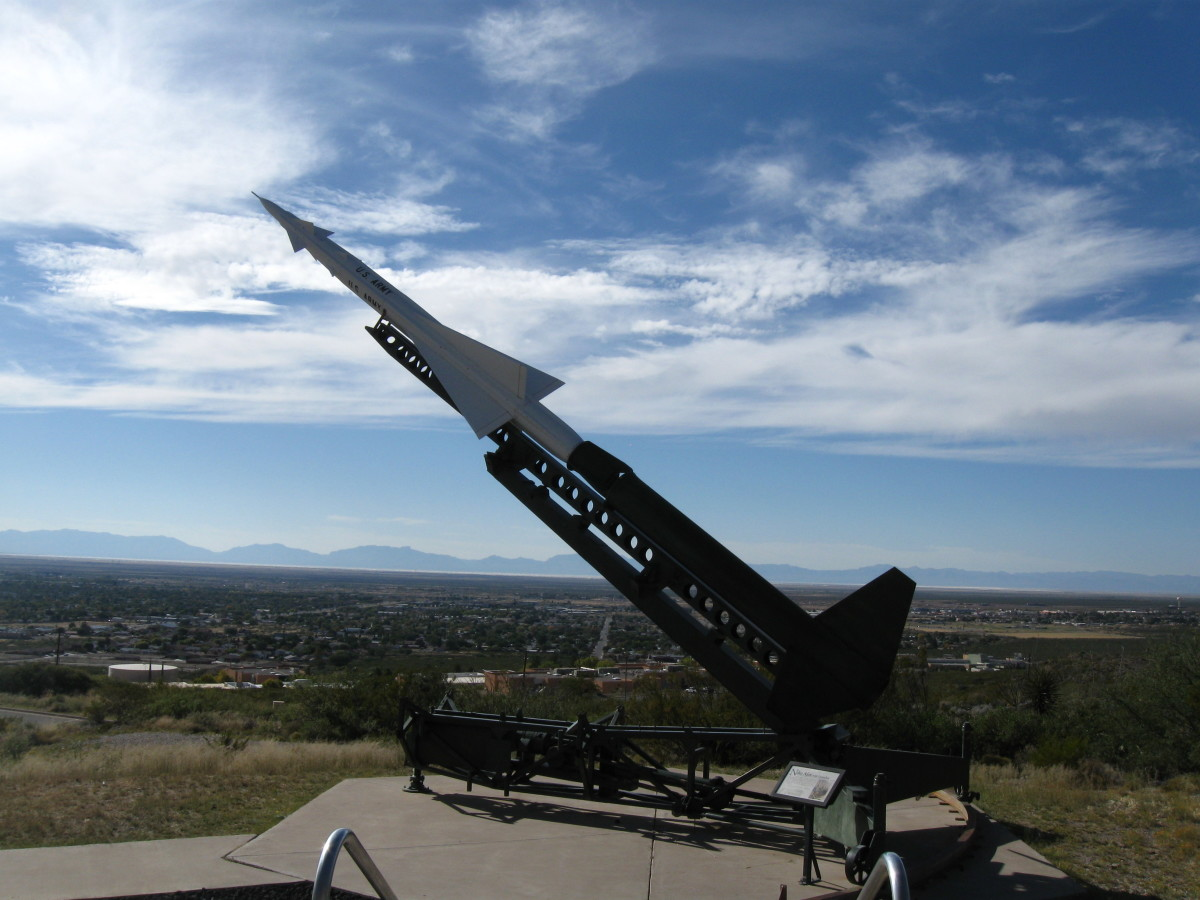Nike Ajax on launcher - world's first operational missile designed to destroy high altitude enemy aircraft.