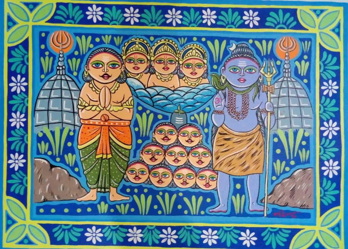 Ravana offering his ten heads to Shiva